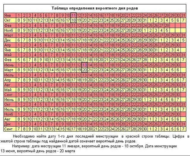 Определение срока беременности по дате последних месячных